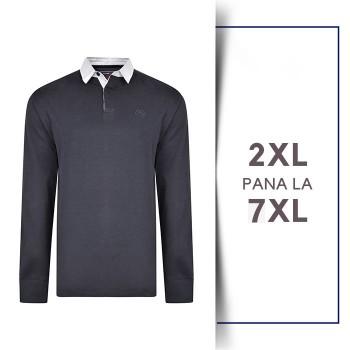 Bluza cu Maneca Lunga Rugby Polo din bumbac Navy - LS JERSEY RUGBY POLO NAVY - 2XL 3XL 4XL 5XL 6XL 7XL