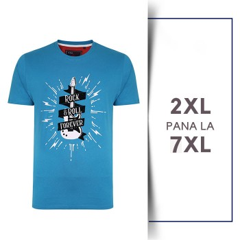 Tricou din bumbac ROCK AND ROLL - T-SHIRT ROCK AND ROLL BLUE - 2XL 3XL 4XL 5XL 6XL 7XL
